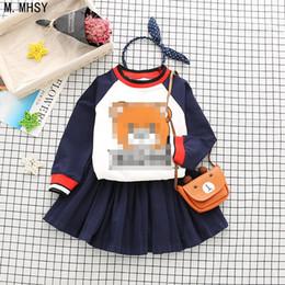 Microfiber Sport Clothes Australia - New Baby girl sports clothes Boy Pants Sets kids 2PCS coat children Cute Cartoon bear outfits Children Clothing dress