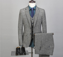 Custom Tweed Suit NZ - Vintage Mens Suit 3 Pieces Tweed Fleck 2 Button Wool Light Gray Custom New Wedding Tuxedos Business Men Wear