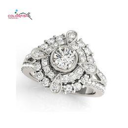 $enCountryForm.capitalKeyWord Australia - OLORFISH Round Pear Shape Halo Antique Scroll Engagement Ring for Women Fashion Jewelry Female 925 Sterling Silver Wedding Ring COLORFISH...