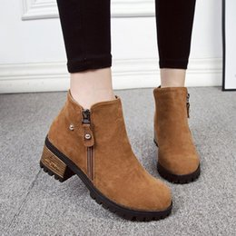 $enCountryForm.capitalKeyWord Australia - Autumn Women Ankle Boots Female Flock Fur Warm Winter Shoes Woman Block High Heels Platform Boots Black Brown Botas Mujer 569