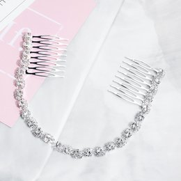 crystal bridal jewlery NZ - Simple Chain Headwear Crystals Sliver Hair Jewlery with Comb Bridal Elegant Headpiece Girls Prom Party Hair Decoration bijoux cheveux HA349