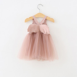 Kids girls suspender online shopping - girls Kids Designer Clothes dress Summer Angle Wing Mesh Suspender dress Lolita girls dresses