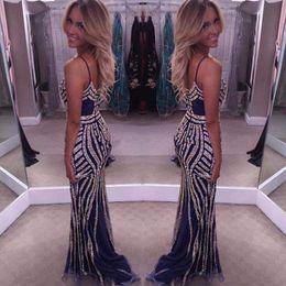 $enCountryForm.capitalKeyWord NZ - Bling Bling Mermaid Evening Dresses Spaghetti Straps Sheath Prom Dresses V Neck Backless Stunning Women Celebrity Dresses New