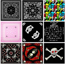 Scarf Square Cotton Australia - Fashion Hip Hop 100% Cotton Skull Bandana Square Scarf Kerchief Black Paisley Bicycle Headband Printed For Women Men Boys Girls