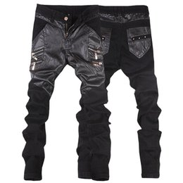 45b8745d35ecd New arrivals casual straight men s slim fit skinny leather pants male jeans  motorcycle trousers 28-36 JP109