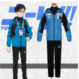 Wholesale anime yuri resale online - Anime YURI on ICE Yuri Katsuki Blue Daily Sports Wear Men Coaplay Coatume Zipper Shirt Coat Pants cosplay