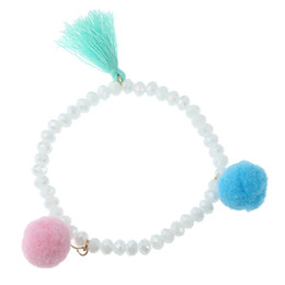 $enCountryForm.capitalKeyWord Australia - chic beautiful Wool Ball Crystal Bead Bracelet Bracelet For Women Brand girlfriend boyfriend gift crafts dinner accessories