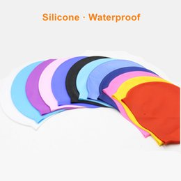 Discount swim hats for long hair - Professional Silicone Waterproof Swimming Caps Ear Protection Solid Pool Beach Swim Hat for Long Hair Swimming Cap for M