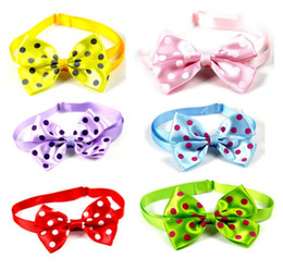 Wholesale lastest Pet puppy Cat Dog colorful polka dots bow tie necklace collar bowknot necktie grooming for pet supplier decoration Costume