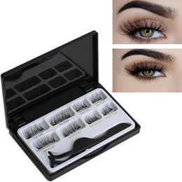 China 8 Pcs Lashes & 1 Tweezer Mixed Styles Dual Magnetic False Eyelashes Thick Long Natural Makeup Extension Tool Black lash cheap tools magnetic suppliers