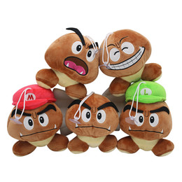 14 dolls Australia - 6 Types Super Mario Brother Plush Doll Brown Color Chestnut Mushroom Stuffed Doll Toys for kids gifts pendant