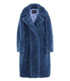 6 cores Jazzevar azul ovelhas de lã de pele longa parkas Com Cashmere Forro mulheres ovelhas de corte de peles casacos em Promoção