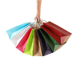 Christmas Gift Bag Paper Australia - Fashionable Kraft Paper Portable Shopping Bag Wedding Birthday Christmas New Year Party Gift Package Bags W9538