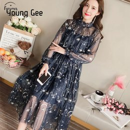 Wholesale blue lace skater dress resale online – Women Autumn Sexy Sheer O Neck Lace Dress Skater Starry Sky Sweet Party Flare Embroidery With Lining Dresses