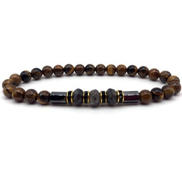 $enCountryForm.capitalKeyWord Australia - New arrival men bracelets 6mm Tiger Eye Stone Geometric Beaded Chain Men's Luxury Gift Jewelry Fashion 2019 Bracelet Men Bijoux