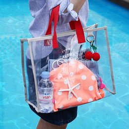 Woman Transparent Swimsuit NZ - Cleart Transparent Pvc Jelly Beach Bag Women Handbags Large Capacity Shoulder Bag Swimsuit Collect Portable Waterproof Tote