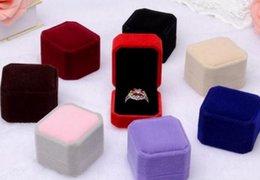 VelVet earrings online shopping - Squre Wedding Velvet Earrings Ring Box Jewelry Display Case Gift boxes Amazing New GA39