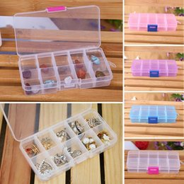 Bead Organizer Storage Australia - New Hot 4 Colors 10 Grids Adjustable Jewelry Tool Box Beads Pills Organizer Nail Art Tip Storage Box Case Hard Transparent