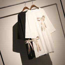 Plus Size Long Tee Australia - Plus Size Cotton T-shirt Tops Women Tshirt Loose Long Sleeve Black White Tee Top