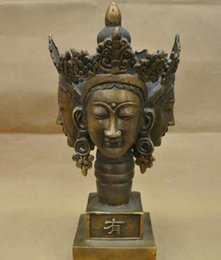 Discount fairy statues 14'' China Tibet Four Faces Guanyin Kwan-yin Buddha BRASS Statue wholesale BRASS Arts outlets