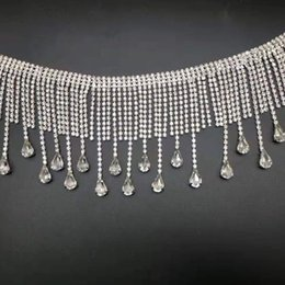 $enCountryForm.capitalKeyWord Australia - 1 Yard 78mm Rhinestone Tassel Trim Ribbon Silver Crystal Chain Wedding Bridal Sash Belt Sew on Applique Wedding Dress Necklace Handmade