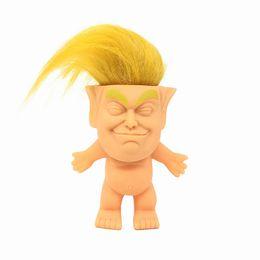 Figures Dolls Australia - wholesale 10cm Action Figures Doll Long Hair Troll Doll Leprechauns Electioneering President Donald Trump Model 2style