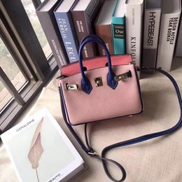 handbag mix color Australia - Luxurious2019 Mixing Candy Powder Head Layer Cowhide Litchi Grain Bag Handbag Oblique Satchel Single Shoulder Woman Package