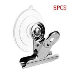 Wholesale 8pcs Suction Cup Clip Plastic Round Suction Cup Clip Advertising Display Holder Stand Clamp Metal Clips folder Suction Clipe HH4