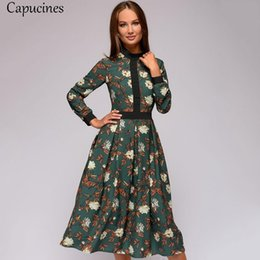 collared mid calf dress UK - Capucines Vintage Patchwork Print Women Dress 2019 Autumn Casual Long Sleeves Stand Collar Mid-calf A-line Dress Female Vestidos MX19070402