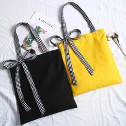 Big Ladies Handbags Australia - Big Capacity Storage Bags Organizer for Travel Women Lady Bowknot Canvas Handbag Mini Single Shoulder Bag Shopping Bags
