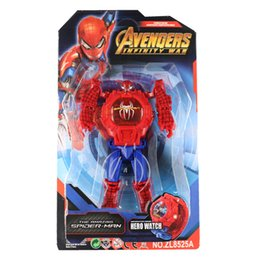 Wholesale 20pcs Light watch Kids Avengers deformation watches New Children Superhero cartoon movie Captain America Iron Man Spiderman