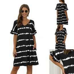 cotton maxi dress pockets UK - Women Casual Maxi Dresses Holiday Party Dress Beachwear Short Sleeve Pencil Dresses Pocket Print Contrast Color Summer Clothes Plus Size #572