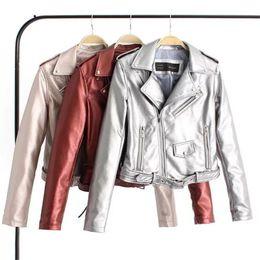 Coat Pu Zipper Australia - Pu Leather Jacket Coat Long Sleeve Lapel Short Zipper Bright Leather Jacket Coat Fashion Leisure Punk Fan Car S-XL