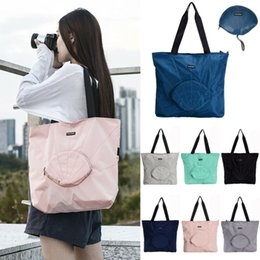Discount beach bags folding 2020 HOT Functional Waterproof Folding Shoulder Handbag Shopper Reuse Tote Beach Shopping Travel Bag Pattern Shopping Ba