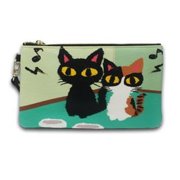 Cute Gifts Coin Purses UK - Fashion Cute Leather Coin Purse Card Package Zipper CartoonTwo Cat Wallets Pocket Bag Girls Gift