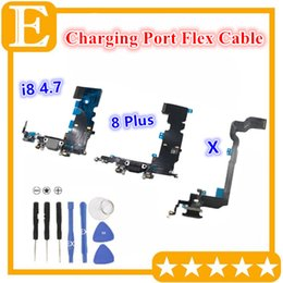 New USB Charging Port Connector Mic Flex Cables Replacement for iPhone 8G 4.7 8 Plus 5.5 X Charger Dock Cable