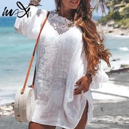 $enCountryForm.capitalKeyWord Australia - In-X Sexy beach dress Summer long sleeve cover-ups Beachwear women swimsuit Off shoulder cover up Swim Tunic Robe De Plage 2019