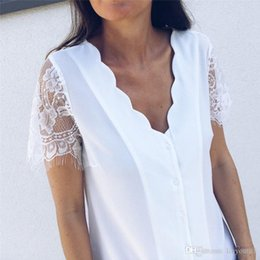 Black holiday Blouses online shopping - Women Solid Black White Chiffon Blouses Wave V Neck Button Short Lace Sleeve Casual Blouse Woman Ladies Holiday Top Shirt Blouse
