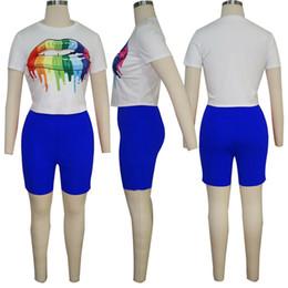 Summer Sportswear Suit Australia - Women Big Lips Eye Print Tracksuit T-Shirt + Shorts Pants 2pcs Set Summer Sport Suit Ladies 2 Pieces Outfits Sportswear Gym Suits A32701