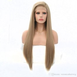Blonde Resistant Synthetic Fiber Australia - Fashion 26inch Long Straight Blonde Synthetic Lace Front Wig Natural Hairline Heat Resistant Fiber Side Parting Cosplay For White Women Wigs