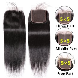 $enCountryForm.capitalKeyWord Australia - Straight human hair 5x5 lace closure pre plucked straight hair lace closure with baby hair middle three free part lace closure natural color