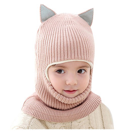 earflap beanies Australia - Toddler Kids Baby Boy Hat Winter Autumn Warm Knit Crochet Thick Scarf Earflap Hood Caps Soft Casual Beanie Leisure czapka zimowa