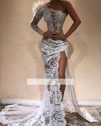 $enCountryForm.capitalKeyWord Australia - One Shoulder Long Sleeves High Slit Special Occasion Dresses 2020 Lace Feather See Though Body Evening Gowns Elegant Formal Prom Dress