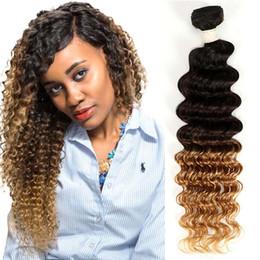 Indian Deep Curl Hair Canada - Ombre Deep Wave Bundles Mink Indian Human Hair 1B 4 27 autiful Bohemian Curly Blonde Human Weave Bundles Deep Curls