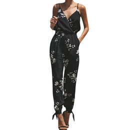 ccf6bb4c4231 2019 Elegant Sexy Jumpsuits Women Rompers Women Printing Color Casual  Sleeveless V-neck Strap Lace Jumpsuit Loose