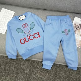 New teNNis rackets online shopping - Boy set children designer clothing early autumn new embroidery tennis racket sports set British element casual two piece