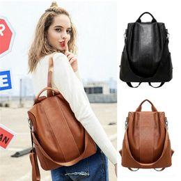 $enCountryForm.capitalKeyWord Australia - 2019 Travel Women PU-Leather Backpack Girls School Bag Knapsack Student Anti-Theft Rucksack Black Brown