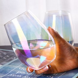 pink wine glasses wholesale NZ - 20oz Lead-free Crystal Egg Cup Wine Glass Tumbler Modern Large Capacity Ion-plated Rainbow Transparent Household Living Room Crafts
