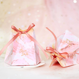 $enCountryForm.capitalKeyWord Australia - New Pink Candy Box Hexagon Wedding Favors and Gifts Box Party Supplies Baby Shower Paper Chocolate Package Boxes Party Decorations