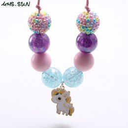 $enCountryForm.capitalKeyWord Australia - New Arrivel Pretty Horse Pendant Kid Chunky Necklace Adjusted Rope Toddlers Girls Bubblegum Bead Chunky Necklace Jewelry For Children